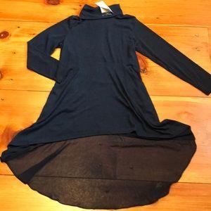 SOFT SURROUNDINGS Petite XS Navy Cowl Neck Dress